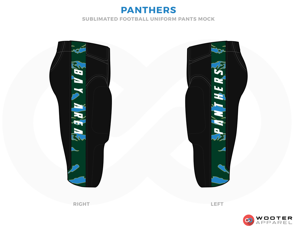 PANTHERS Black Green and Ferozi Football Uniforms, Pants