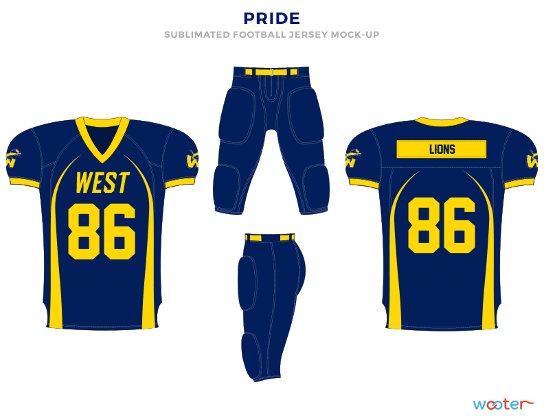 PRIDE Blue and Yellow Football Uniforms, Jerseys and Pants