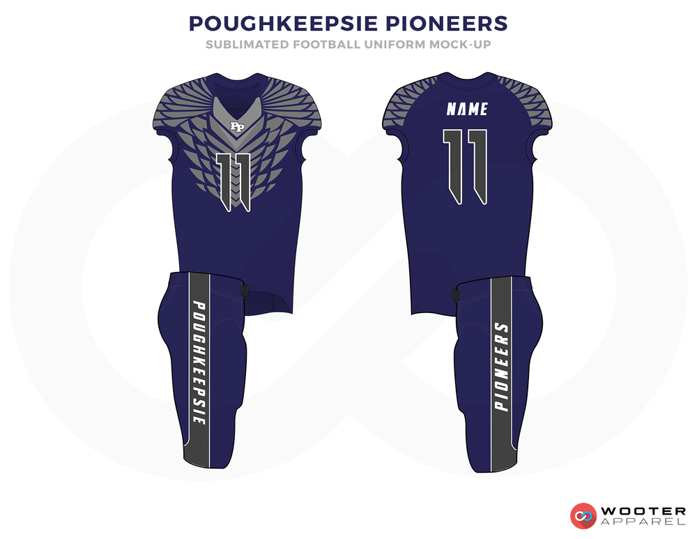 POUGHKEEPSIE PIONEERS Blue Grey and White Football Uniforms, Jerseys and Pants