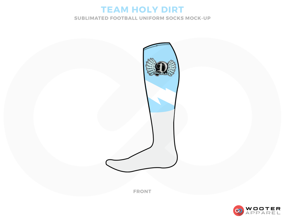 TEAM HOLY DIRT Sky Blue Grey and Black Football Uniforms, Socks.