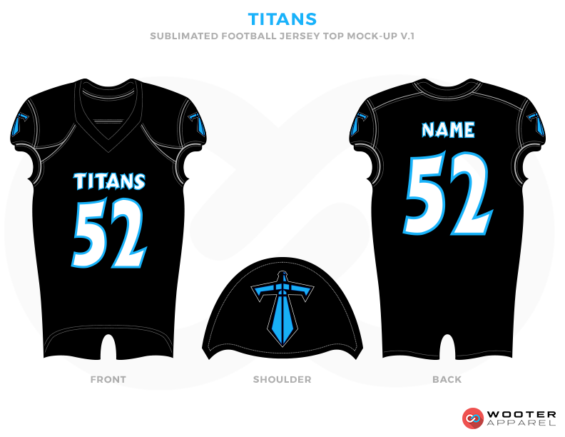 TITANS Black Sky Blue and White Football Uniforms, Jerseys and Shoulders