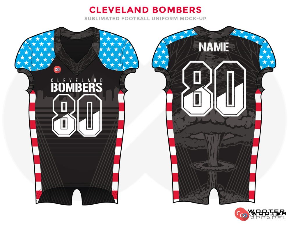 CLEVELAND BOMBERS Black White Red and Blue Baseball Uniforms, Jerseys