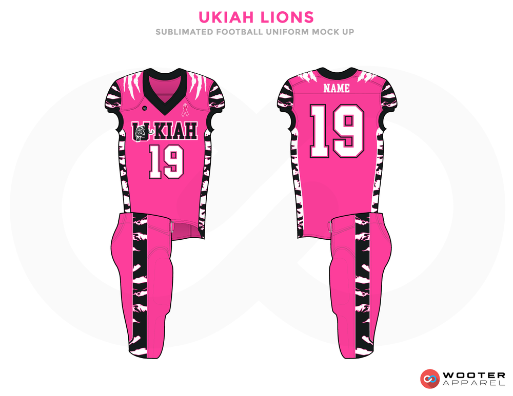 UKIAH LIONS Pink White and Black Football Uniforms, Jerseys and Pants