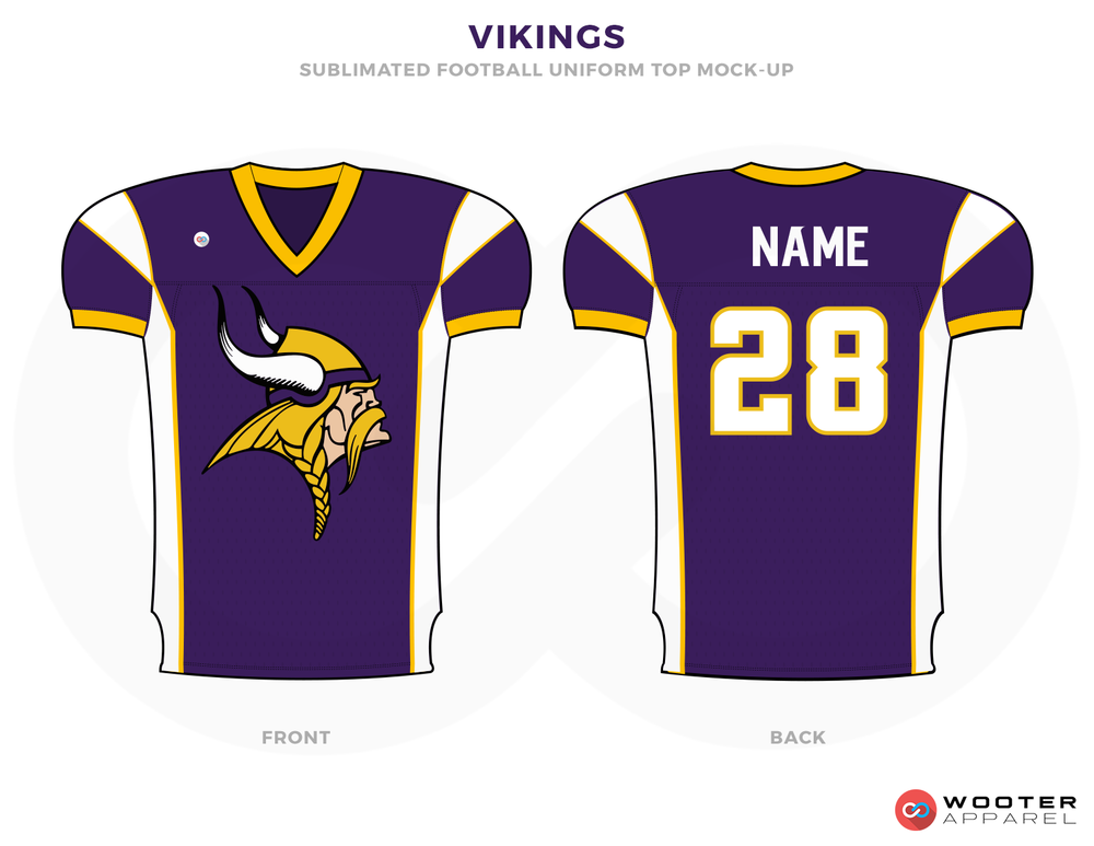 VIKINGS Purple Yellow White and Black Football Uniforms, Jerseys