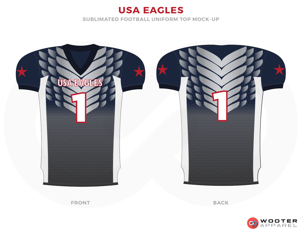 USA EAGLES Grey Blue Red and White Football Uniforms, Jerseys