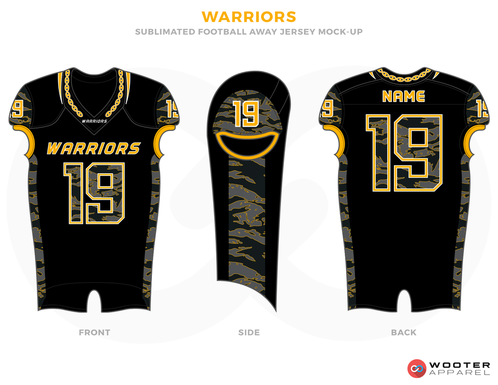 WARRIORS Black Yellow and White Football Uniforms, Jerseys and Pants