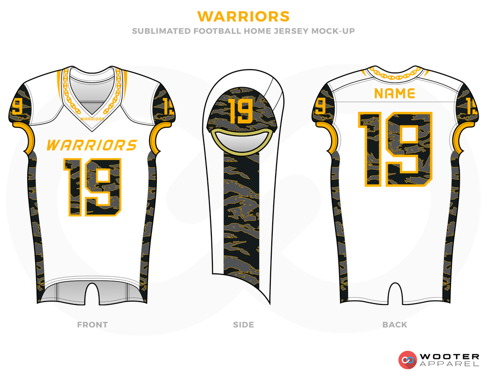WARRIORS White Yellow Grey and Black Football Uniforms, Jerseys and Pants