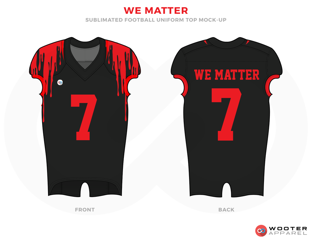 WE MATTER Black and Red Football Uniforms, Jerseys