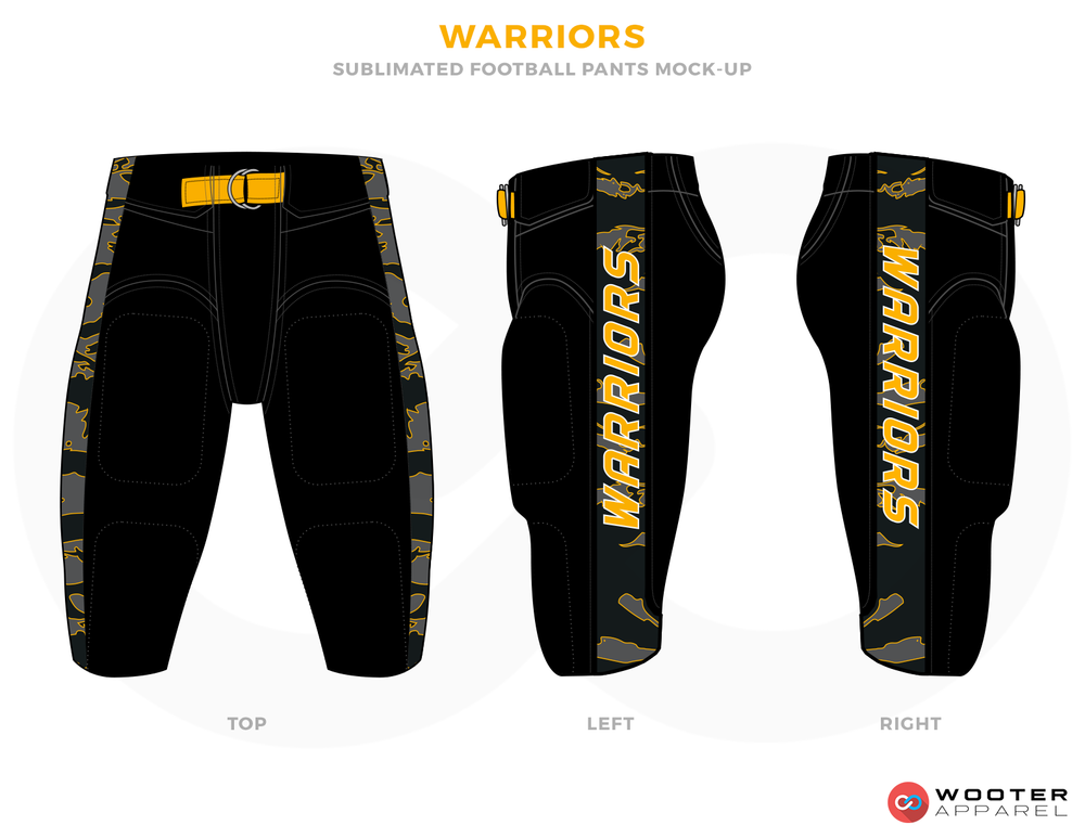WARRIORS Black Yellow and Grey Football Uniforms,Pants