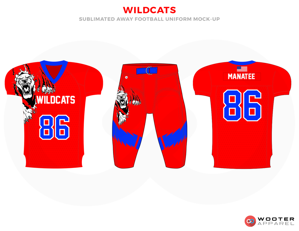 WILDCATS Red Blue Black and White Football Uniforms, Jerseys and Pants
