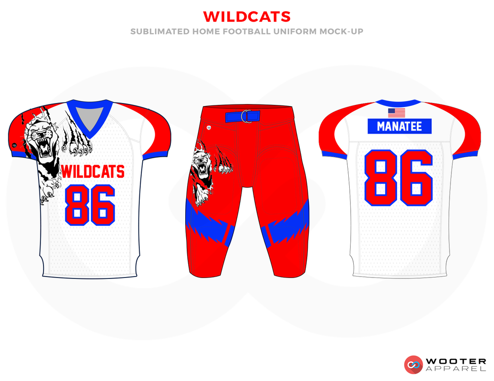 WILDCATS White Red Blue and Black Football Uniforms, Jerseys and Pants