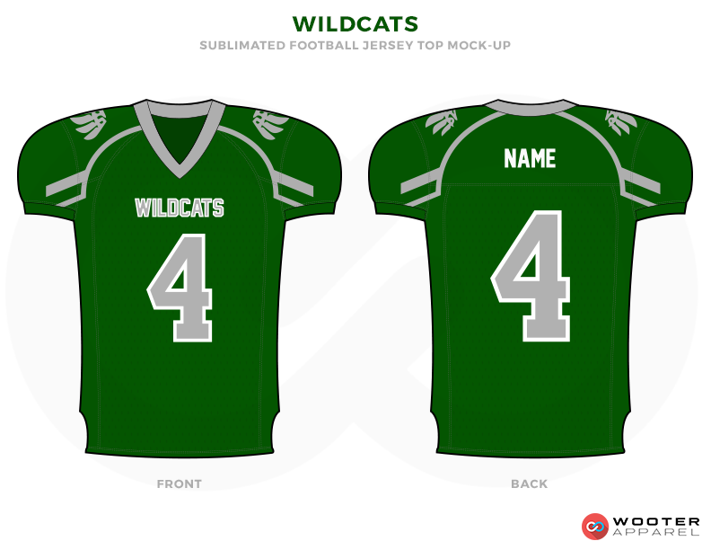 WILDCATS Green Grey and White Football Uniforms, Jerseys