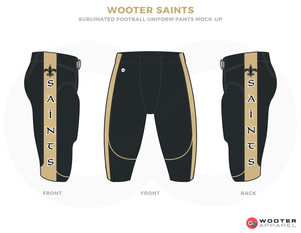 WOOTER SAINTS Black and Brown Football Uniforms, Pants