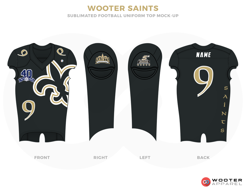WOOTER SAINTS Dark Grey Blue and White Football Uniforms, Jerseys and Pants