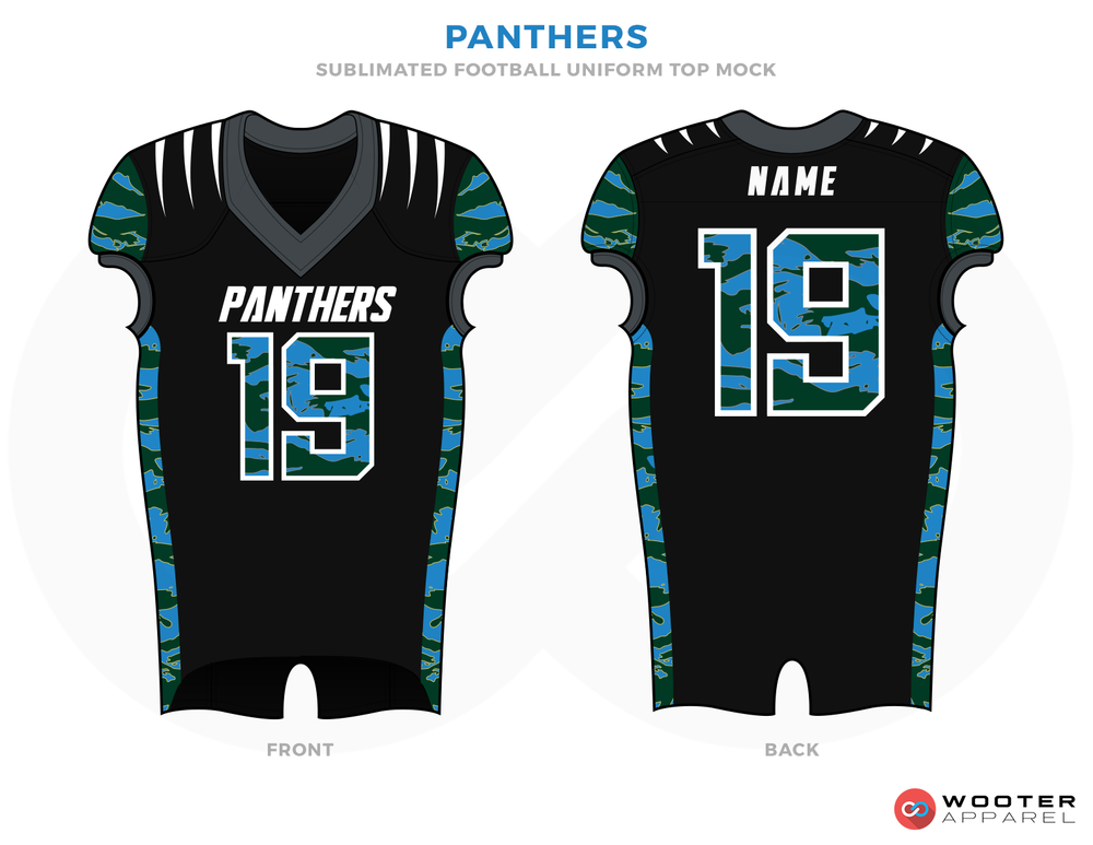 PANTHERS Black Blue Grey and White Football Uniforms, Jersey and Pants