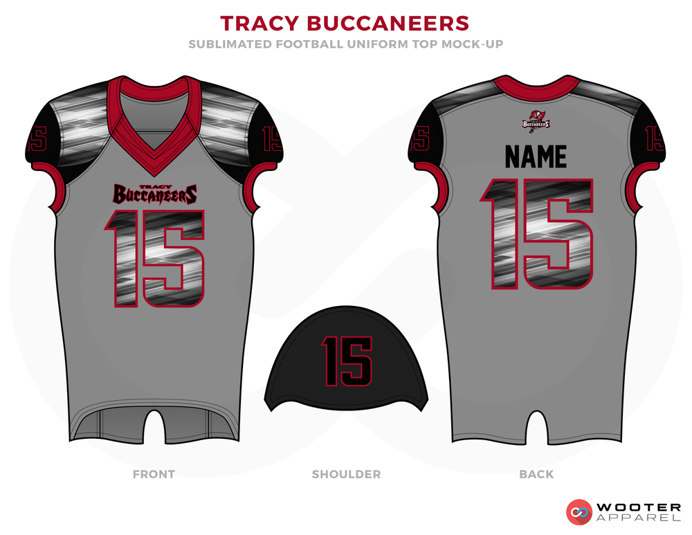 TRACY BUCCANEERS Grey Black Maroon and White football uniforms jerseys and cap