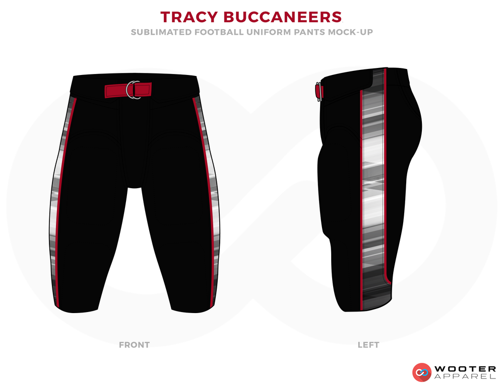 64b7cbf36a0 TRACY BUCCANEERS Black White Red and Grey football uniforms jerseys pants