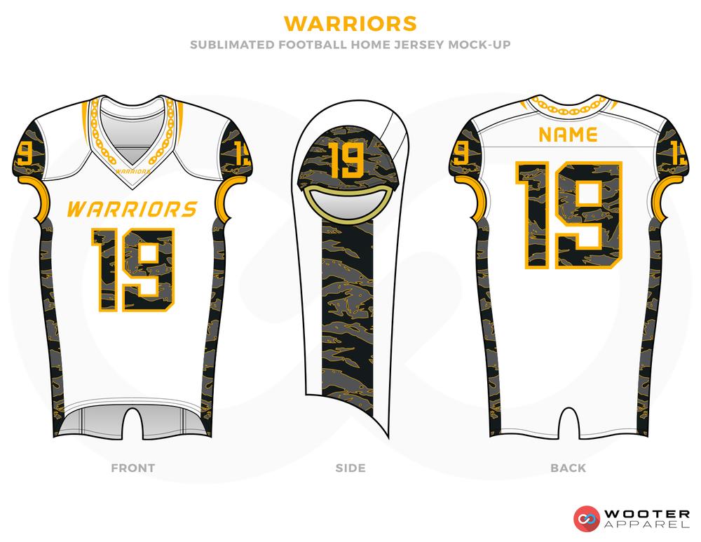 WARRIORS White Black Yellow and Grey football uniforms jerseys top