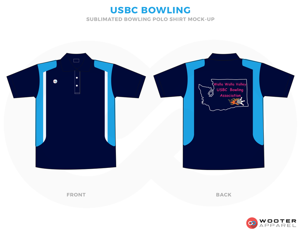 USBC BOWLING sky blue navy blue red bowling uniforms, shirts, quarter zip polo