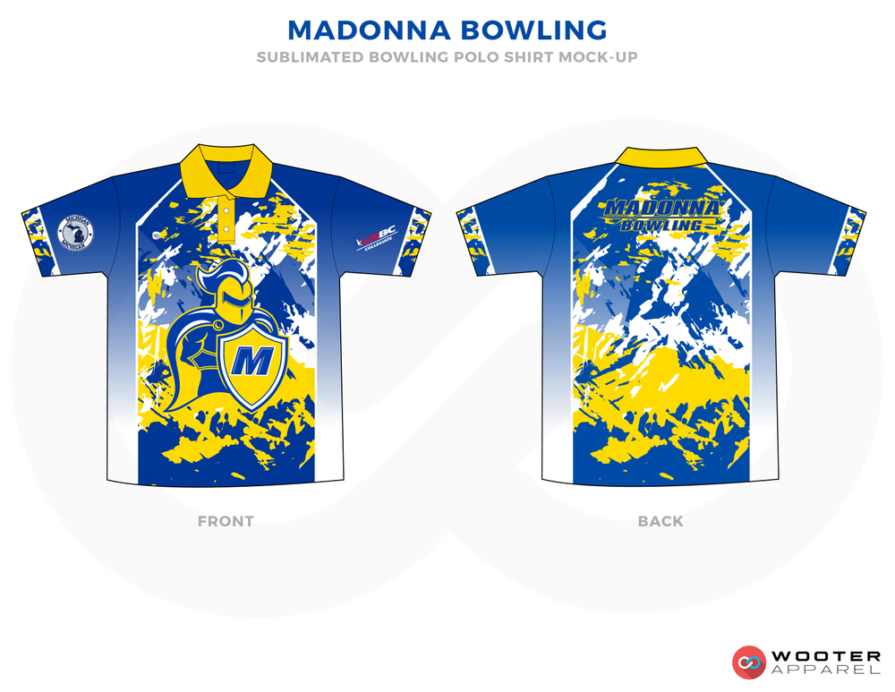 MADONNA BOWLING blue yellow white bowling uniforms, shirts, quarter zip polo