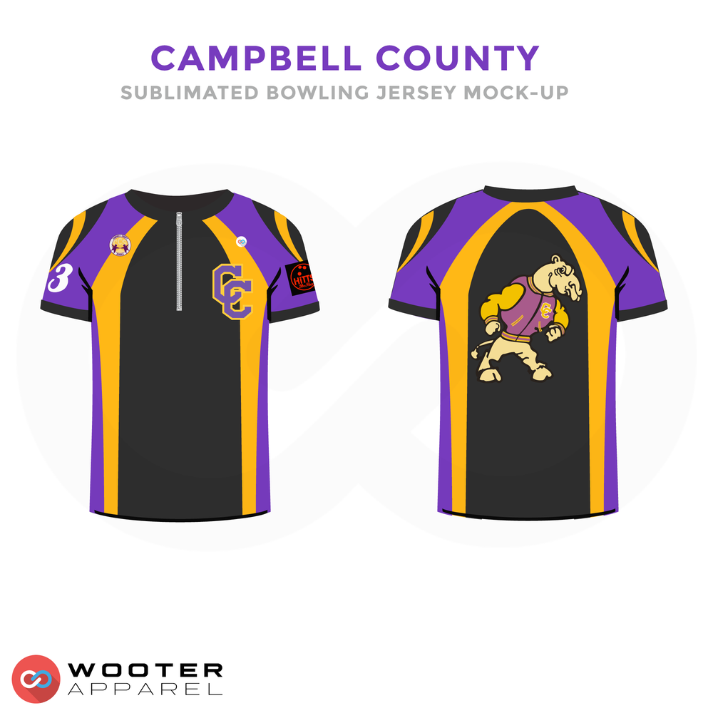 CAMPBELL COUNTY Purple Yellow Black and White Baseball Uniforms, Jerseys