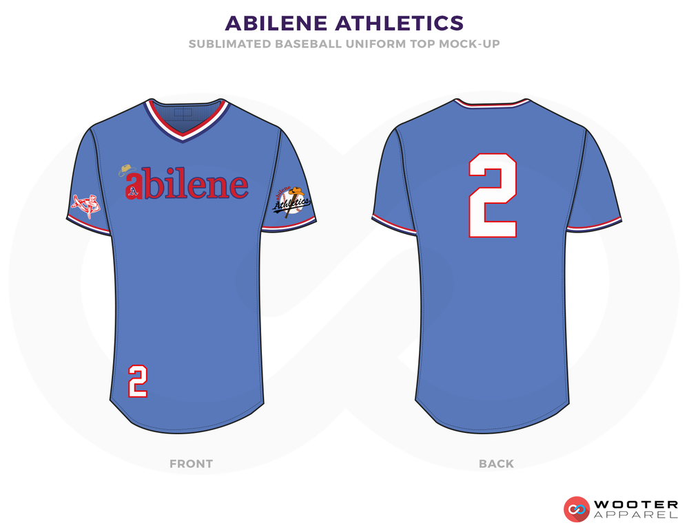 ABILENE ATHLETICS Blue Red and White Baseball Uniforms, Jerseys