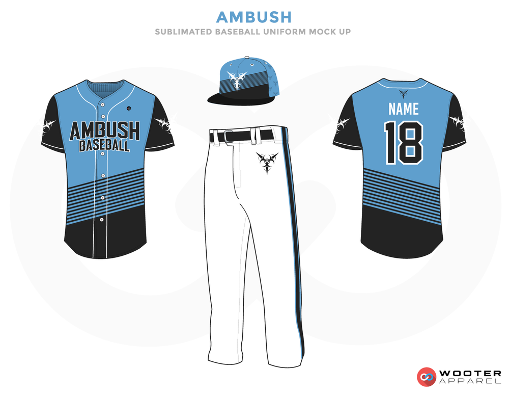 AMBUSH Light Blue Black and White Baseball Uniforms, Jerseys Caps and Pants