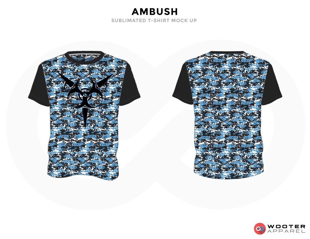 AMBUSH Blue Black and White Baseball Uniforms, Jerseys