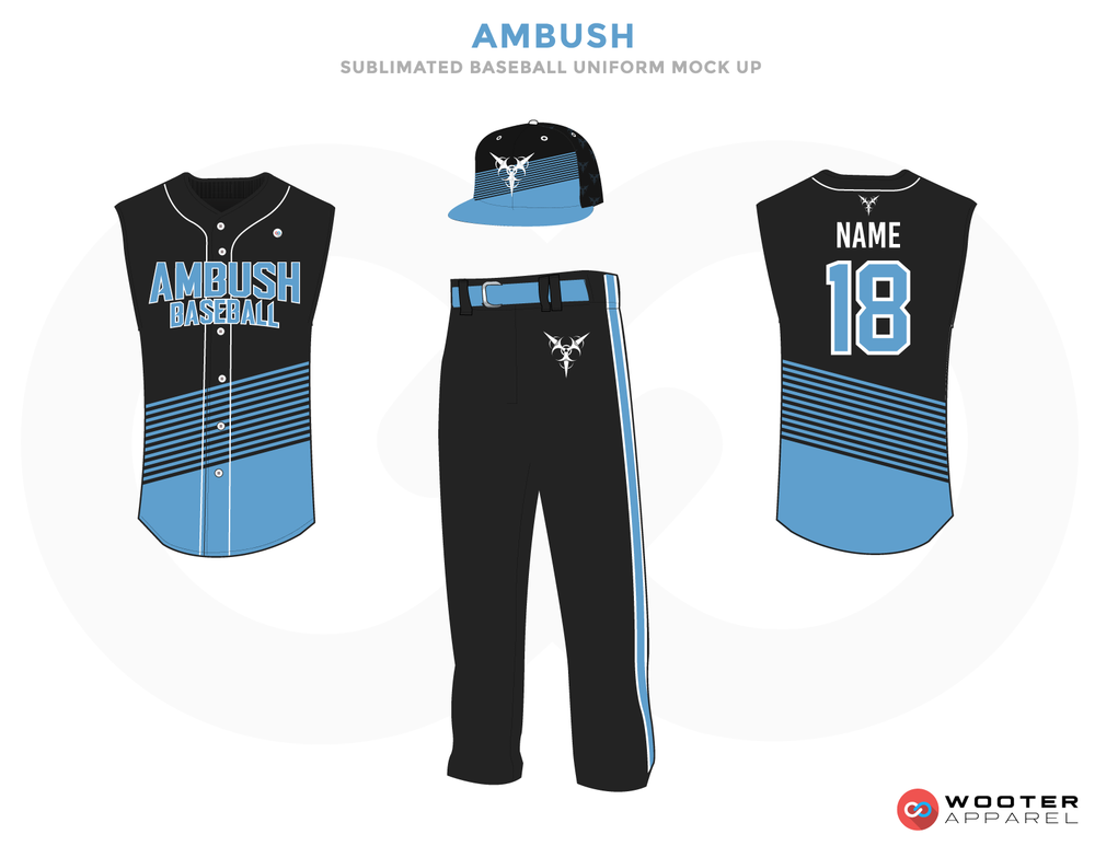 AMBUSH Black Blue and White Baseball Uniforms, Jerseys Caps and Pants