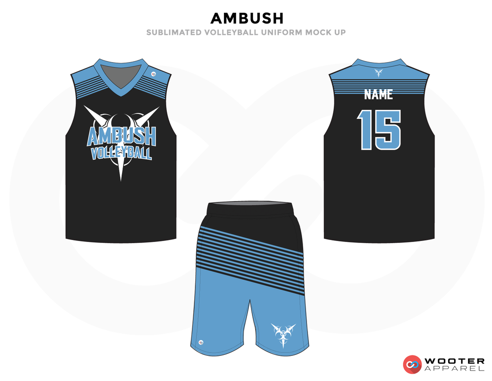 AMBUSH Black Blue and White Baseball Uniforms, Jerseys and Shorts