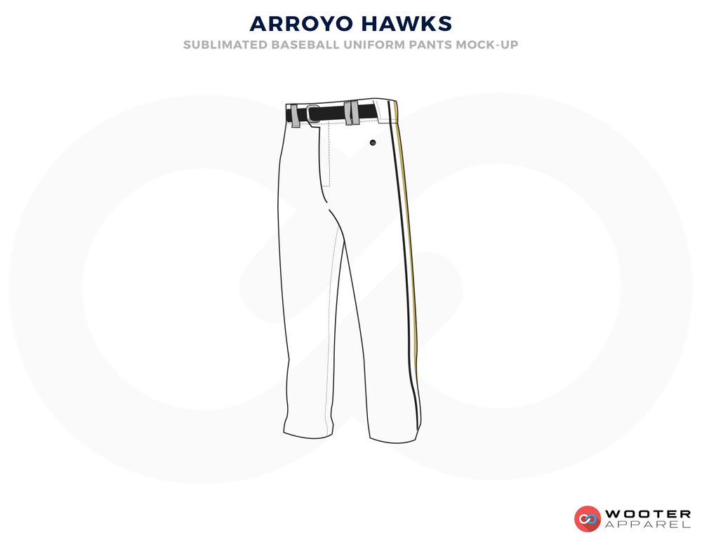 ARROYO HAWKS White and Black Baseball Uniforms,Pants
