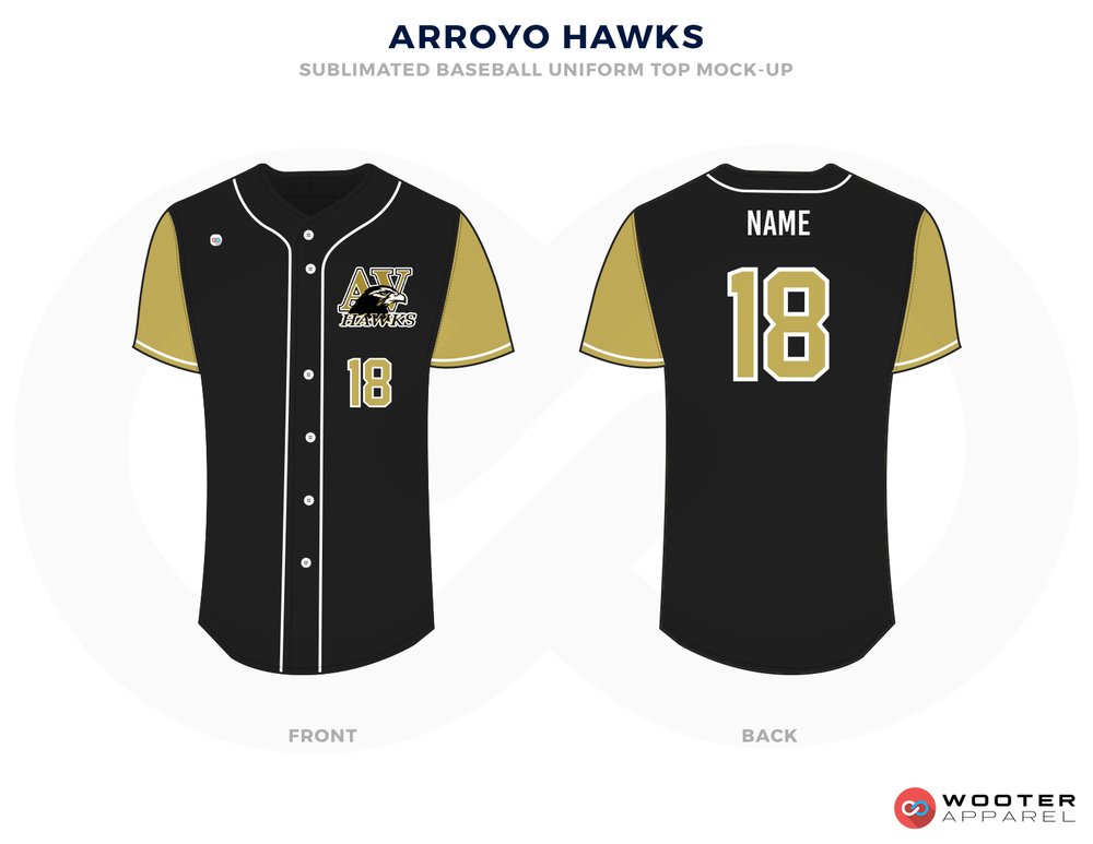 ARROYO HAWKS Black Bronze and White Baseball Uniforms,Jerseys