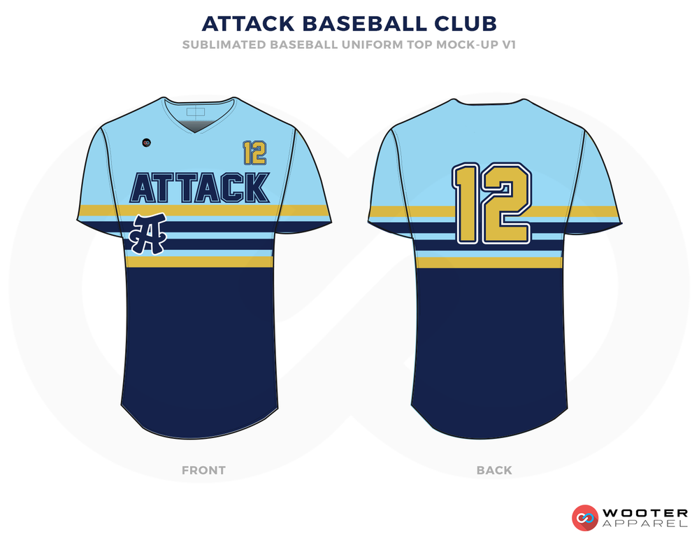 ATTACK BASEBALL CLUB Light Blue Dark Blue and Golden Baseball Uniforms,Jerseys
