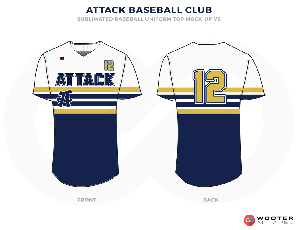 ATTACK BASEBALL CLUB Dark Blue White and Bronze Baseball Uniforms,Jerseys