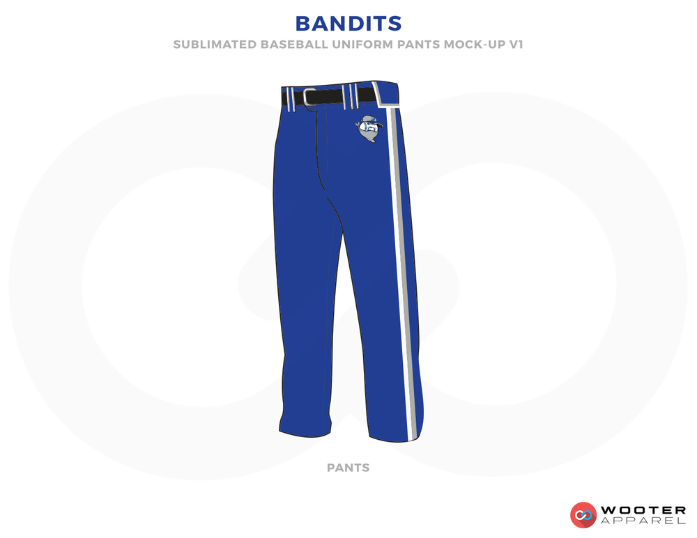 BANDITS Blue White and Black Baseball Uniforms,Pants