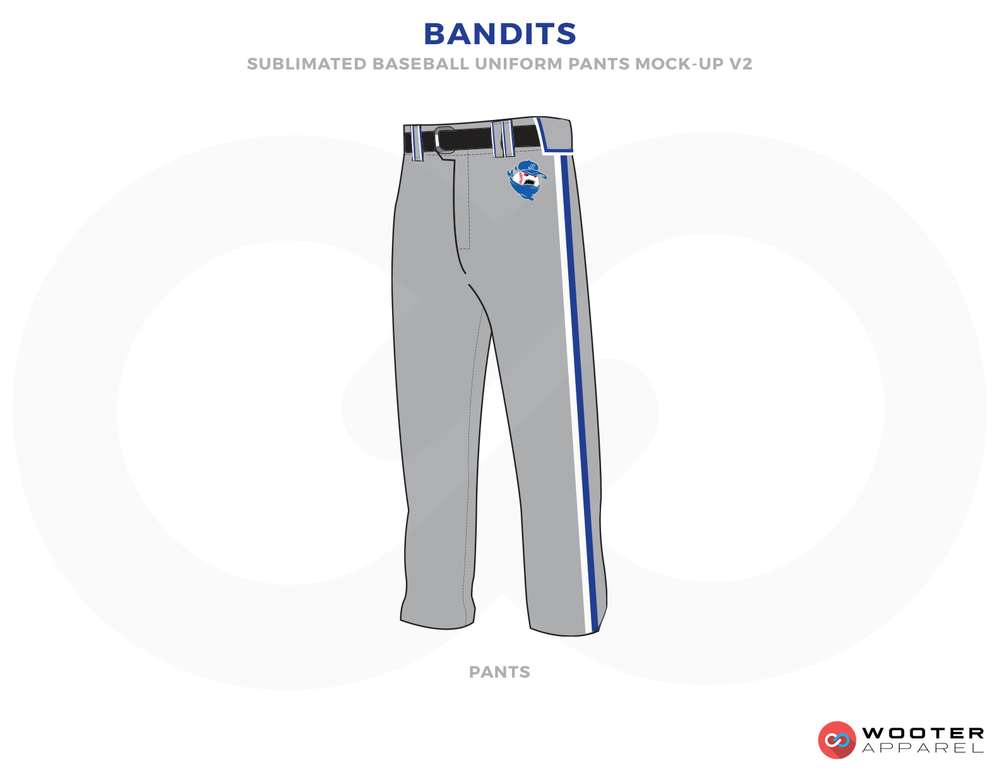 BANDITS Grey Black Blue and White Baseball Uniforms,Pants