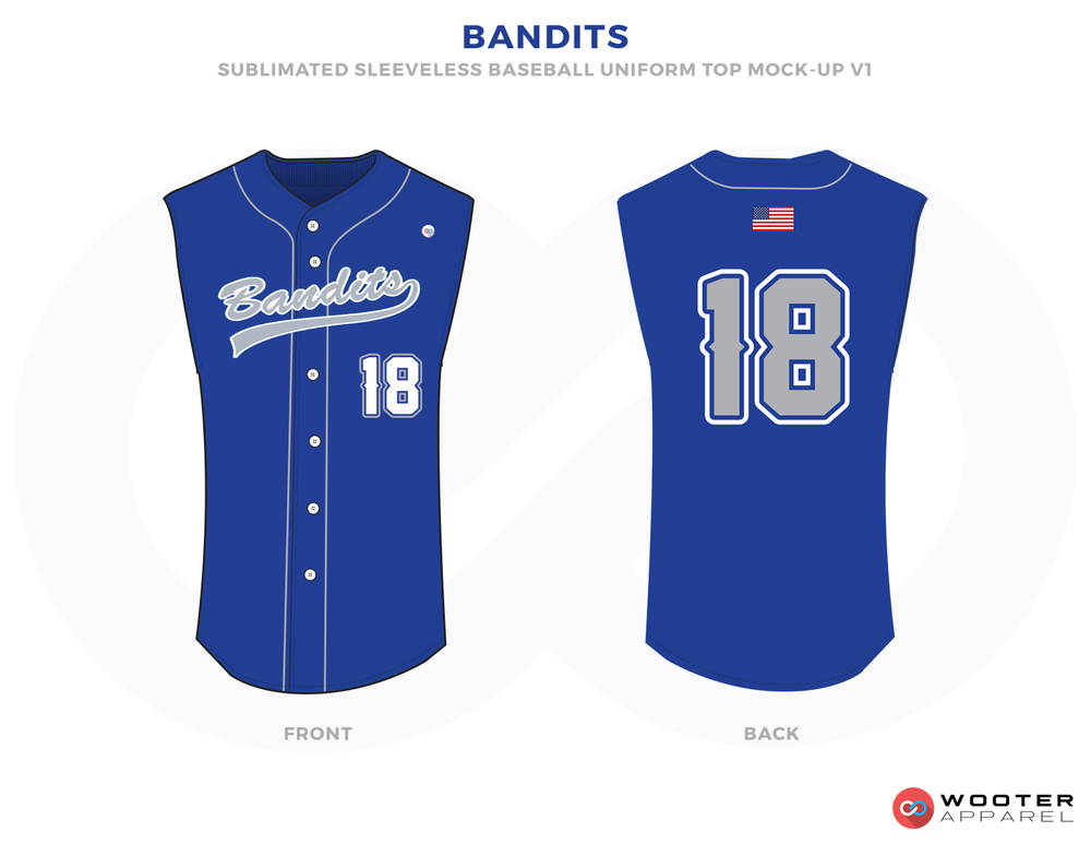 BANDITS Blue Grey Yellow and White Baseball Uniforms,Jerseys