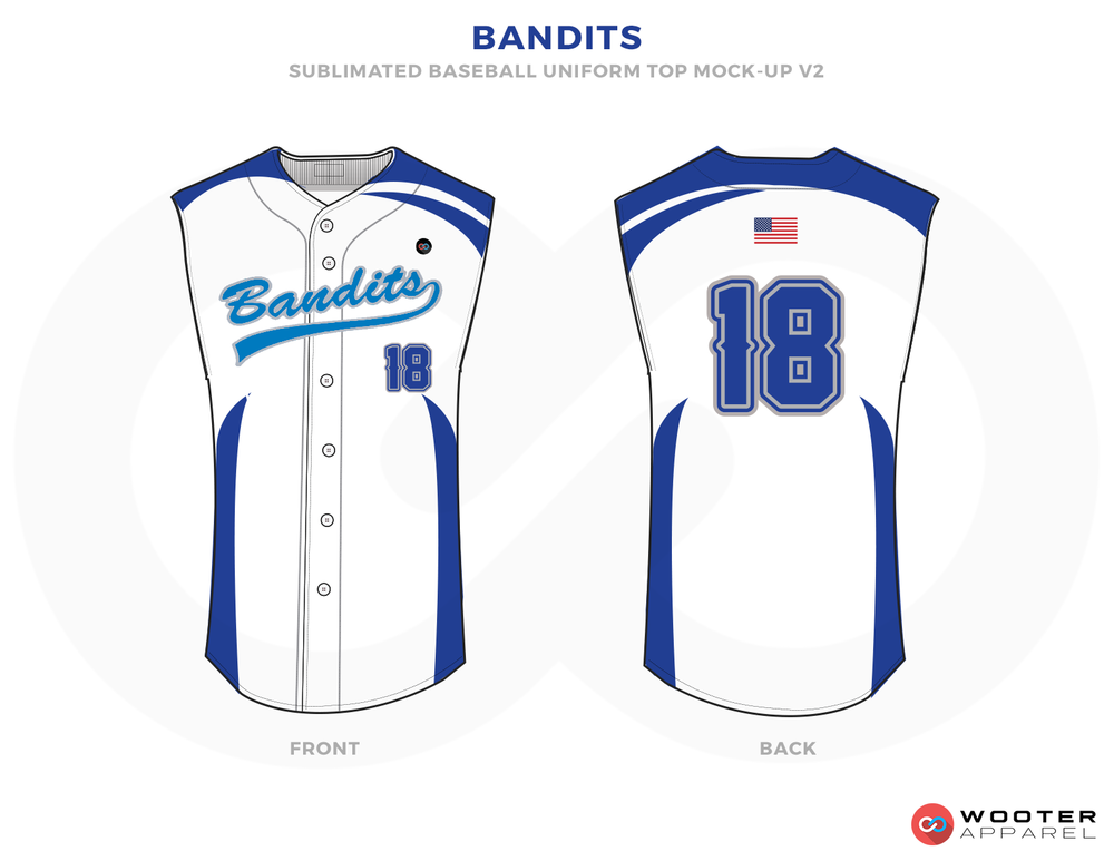 BANDITS White Blue Yellow Baseball Uniforms,Jerseys