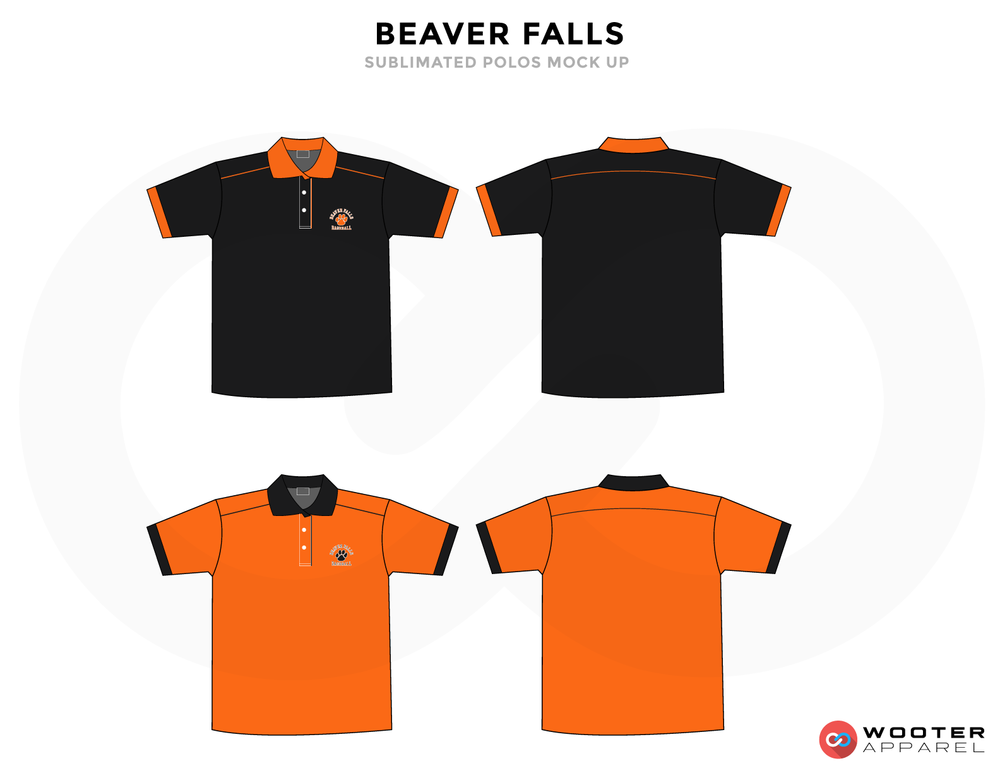 BEAVER FALLS Black Orange Baseball Uniforms, Jerseys