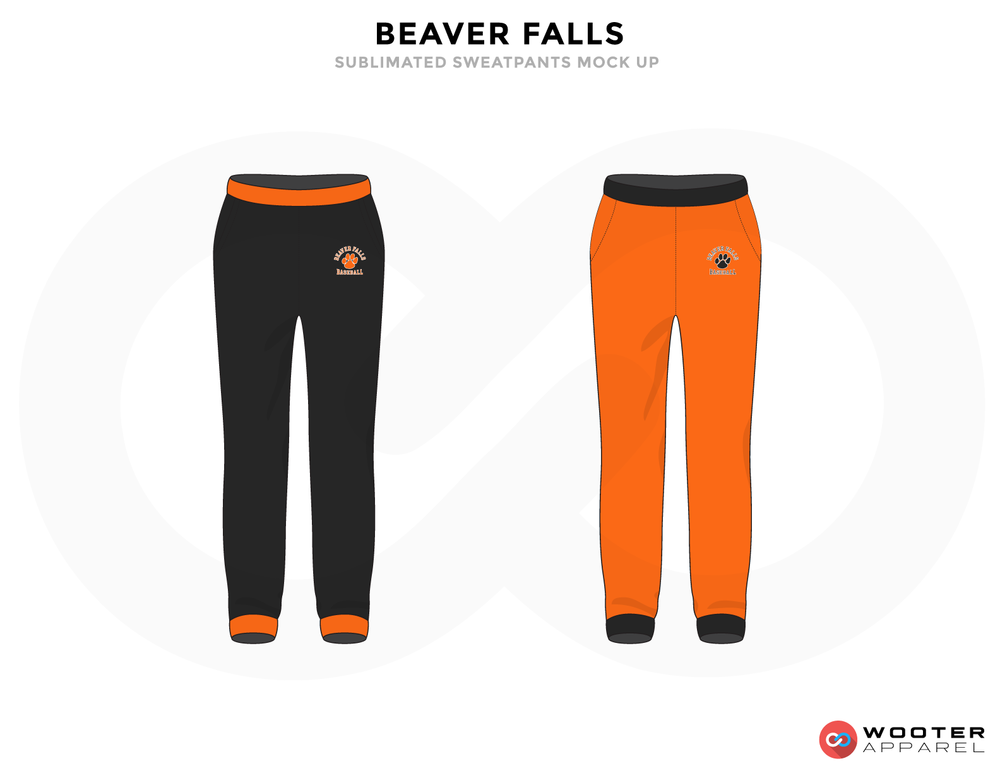 BEAVER FALLS Black and Orange Baseball Uniforms,Pants