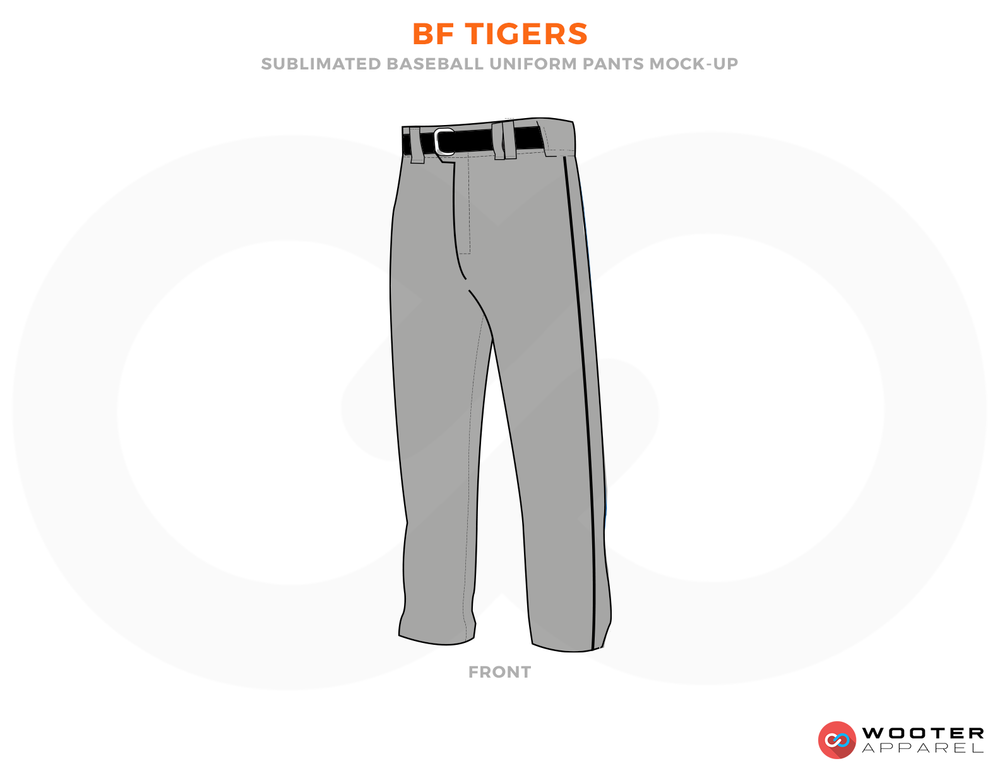 BF TIGERS Grey and Black Baseball Uniforms,Pants