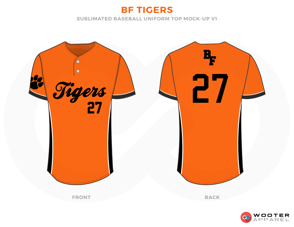 BF TIGERS Orange Black and White Baseball Uniforms, Jerseys