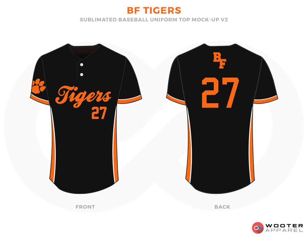 BF TIGERS Black and Orange Baseball Uniforms, Jerseys
