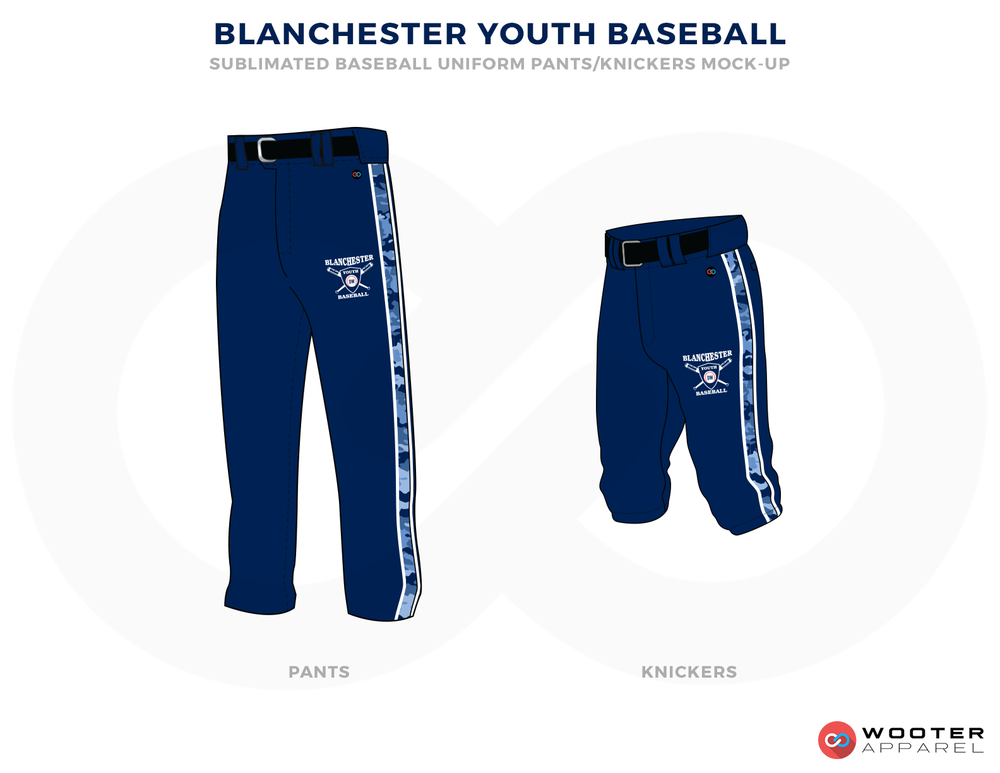 BLANCHESTER YOUTH BASEBALL Blue Black and White Baseball Uniforms, Pants and Shorts