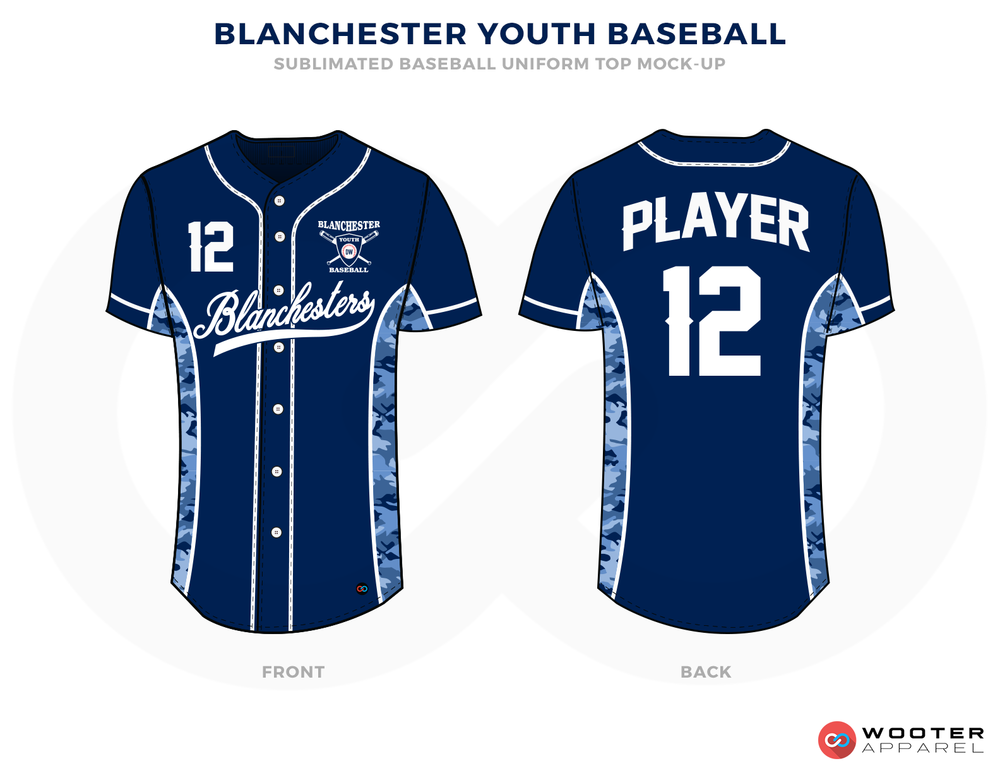 BLANCHESTER YOUTH BASEBALL Blue Black and White Baseball Uniforms,Jerseys