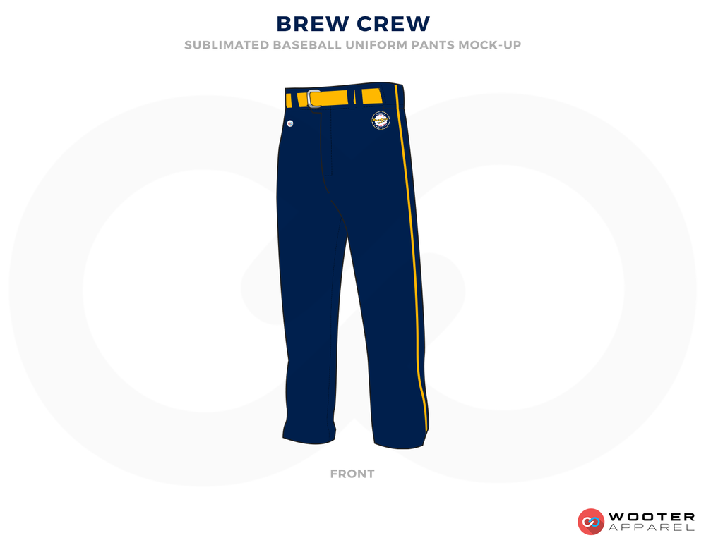 BREW CREW Blue Yellow and White Baseball Uniforms,Pants