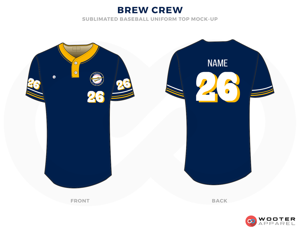 BREW CREW Blue Yellow and White Baseball Uniforms,Jerseys