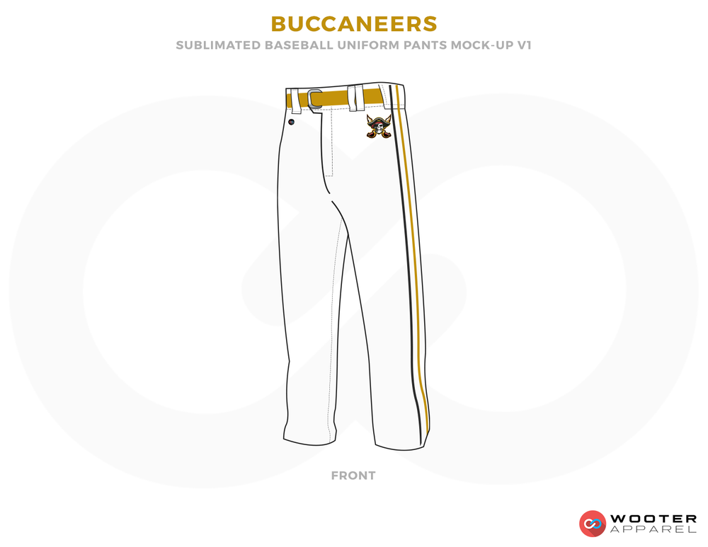 BUCCANEERS White Yellow and Black Baseball Uniforms,Pants