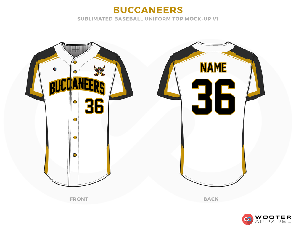 BUCCANEERS White Black and Bronze Baseball Uniforms,Jerseys