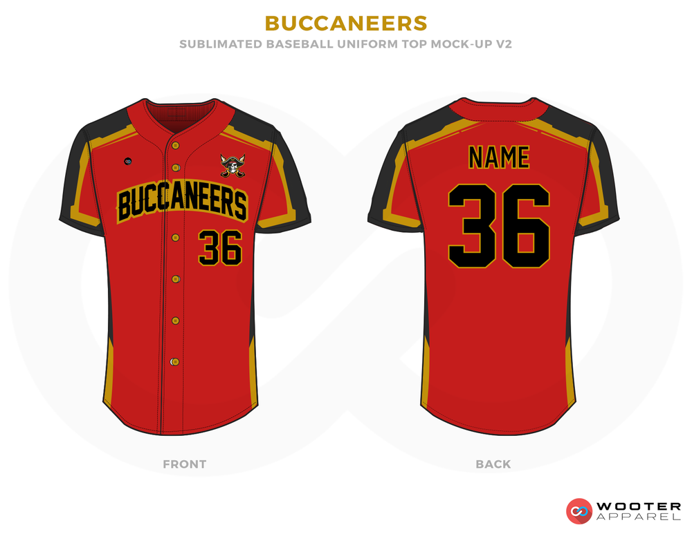 BUCCANEERS Red Black and Bronze Baseball Uniforms, Jerseys